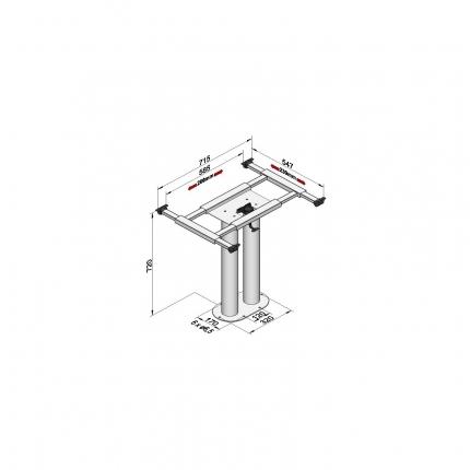 固定式双支柱桌架——7003 GRA